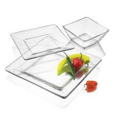piece square glass dinnerware set