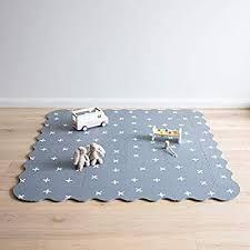 Amazon Com Baby Playmat With Fence By Oliver Lola Designer Crisscross Series 16 Interlocking Foam Floor Til Foam Floor Tiles Foam Flooring Baby Play Mat