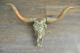 patina tribal faux longhorn skull wall
