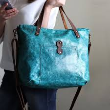 teal turquoise leather tote bag ocean