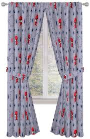 Beautiful Room Decor Easy Set Up Window Curtains Include 2 Panels 2 Tiebacks Official Marvel Product Jay Franco Marvel Spiderman Spidey Crawl Blue 63 Inch Drapes 4 Piece Set Kids