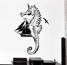 Wall Vinyl Decal Yacht Ship Seahorse Birds Ocean Home Interior Decor U Wallstickers4you