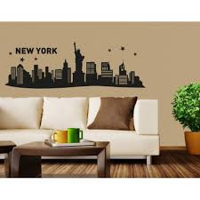 New York Iii City Skyline Wall Decal Cityscape Wall Decal Sticker Mural Vinyl Art Home Decor 4553 Black 79in X 26in Walmart Com Walmart Com
