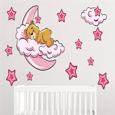 2020 Newest Adorable Bear Sleeping On Moon Cloud Wall Sticker Star Decal Baby Room Decor Diy Child Sleeping Bear Wall Sticker Art Decals Art Decals For Walls From Gl8888 5 19 Dhgate Com