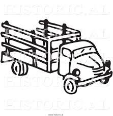 Clipart Of An Old Farm Truck Black And White Drawing By Picsburg 9294