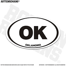 Oklahoma Ok State Oval Decal Euro Vinyl Sticker Rotten Remains High Quality Stickers Decals