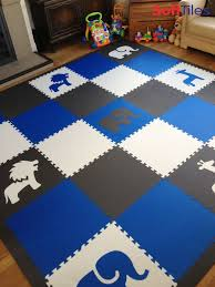 Kids Playroom With Safari Animals Foam Mats In Blue Gray And White D127 Kids Playroom Childrens Playroom Kids Rugs