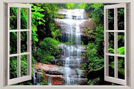 Waterfall Forest Dinosaur Fantasy 3d Window View Decal Wall Sticker Art H242