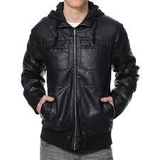 boys faux leather jacket black