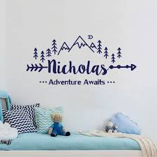 Custom Name Travel Adventure Awaits Wall Sticker Mountain Adventure Quotes Wall Decal Boys Children Decoration Mural Wj 7 Wall Stickers Aliexpress