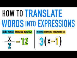 translating words into algebraic