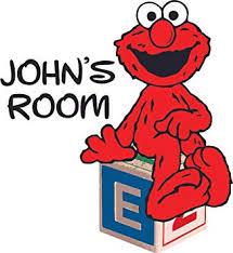 Amazon Com Elmo Cute Sitting Sesame Street Cartoon Customized Wall Decal Custom Vinyl Wall Art Personalized Name Baby Girls Boys Kid Bedroom Wall Decal Room Decor Wall Stickers Decoration Size