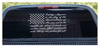 Amazon Com American Flag Pledge Of Allegiance Vinyl Truck Window Sticker Decal Clothing
