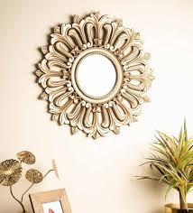 engineered wood round wall mirror