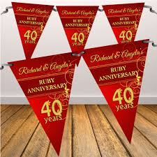 40th wedding anniversary flag banner n9