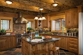 log cabin kitchens with rustic look