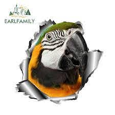 Earlfamily 13cm X 12 5cm 3d Parrot Car Sticker Torn Metal Car Window Bumper Decal Animal Stickers Full Color Decals Reflective Car Stickers Aliexpress