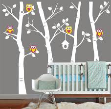 Vinyl Wall Decal Cute Owl Family Birch Tree Decals Trees Owls Bird Birds Home House Art Wall Decor W On Luulla