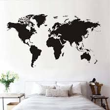 Large World Map Stickers On Wall For Kids Rooms Living Room Waterproof Self Adhesive Black Wall Art Decals Home Decor Mural Gift Wall Stickers Aliexpress
