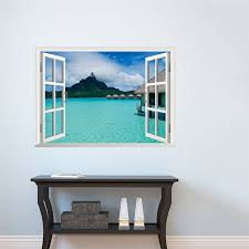 Hot Sale 16 Styles 3d Window Decal Wall Sticker Exotic Beach View Art Wallpaper Mural 2 Sizes Home Decor Beach Home Decor Olivia Decor Decor For Your Home And Office