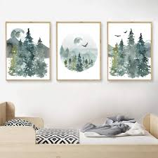 Amazon Com Wsqyf Woodland Nursery Forest Landscape Canvas Posters Watercolor Wall Art Pictures Nordic Decoration Painting Boys Kids Room Decor 40x60cmx3 No Frame Posters Prints