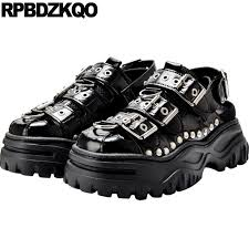 harajuku black rivet trainers european