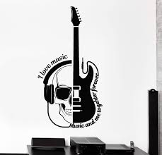 Vinyl Wall Decal Guitar Headphones Skull Musical Quote Stickers Unique Wallstickers4you