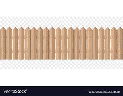 Endless Wooden Fence On A Transparent Background Vector Image