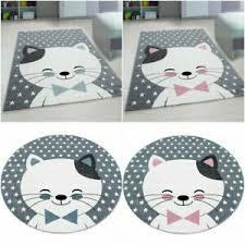 Nursery Quality Soft Kids Room Pink Blue Cat Theme Children Mat Rug Round Carpet Ebay