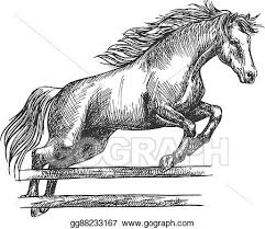 Vector Stock Strong Horse Jumping Over Barrier Clipart Illustration Gg88233167 Gograph