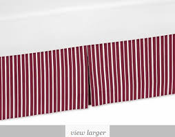red and white stripe crib bed skirt for