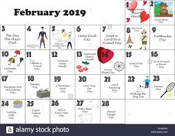 February 2019 calendar illustrated and ...