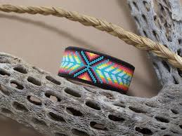 native american beaded chevron leather
