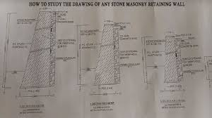 stone masonry retaining wall drawing
