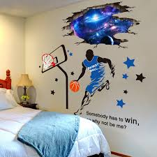 Shijuehezi 3d Outer Space Wall Stickers Diy Basketball Player Mural Decals For Kids Room Baby Bedroom Ceiling Decoration Belecthleen