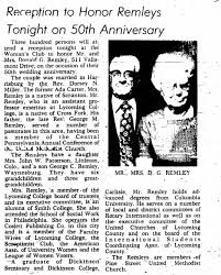 Donald Remley & Ada Carter Remley 50th Anniversary Reception 5 Oct 1973 -  Newspapers.com