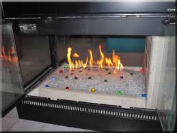 fire glass fireplace ice on fire