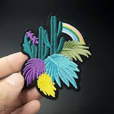 Cactus Iron On Decal A Cute Cacti Embroidery Applique This Colourful Rainbow Patch Adds A Pop Of Colour To Your Sew On Patches Cactus Embroidery Bag Patches