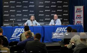 Big East Commissioner Val Ackerman, left, talks to the media after... News  Photo - Getty Images