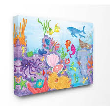 Shop The Kids Room By Stupell Colorful Ocean Sea Life Fish Blue Purple Kids Nursery Canvas Wall Art Proudly Made In Usa Overstock 29717570