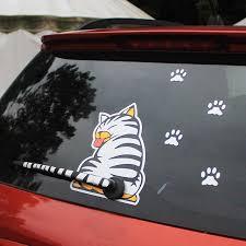 Kawoo Waterproof Car Stickers Cartoon Funny Moving Tail Cat Stickers Car Styling Window Wiper Decals Rear Windshield Sticker Car Stickers Aliexpress
