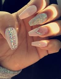 coffin acrylic nails with gems on stylevore