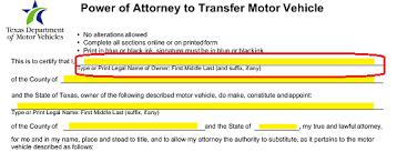 texas motor vehicle power of attorney