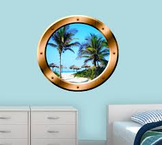 East Urban Home Beach Palm Trees Window Scene Porthole Wall Decal Wayfair