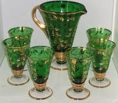 gold pitcher 6 glasses tea cocktail