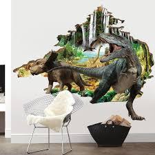 3d Tyrannosaurus Coming Through Wall Decal Wall Stickers Bedroom Dinosaur Wall Stickers Wall Stickers