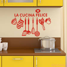 Italian Cuisine Design Vinyl Wall Sticker La Cocina Felice Mural Wall Decal Art Wallpaper Kitchen Wall Decor Home Decor Poster Wall Stickers Aliexpress