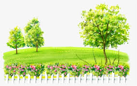Watercolor Landscape Yard Hill Grass Fence Trees Sunny Day Biking Cartoons Hd Png Download Kindpng