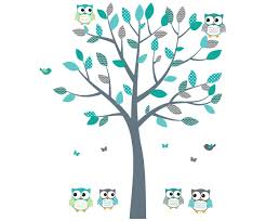 Amazon Com Owl Decals Teal And Gray Owl Wall Stickers Nursery Wall Art Fabric Tree Decal Baby