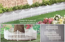 Flexible White Picket Fence Garden Borders Set Of 4 Amazon Co Uk Garden Outdoors